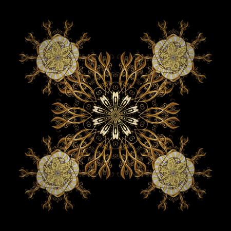 Floral tiles. Golden pattern on black background with golden elements. Islamic design. Pattern oriental ornament. Vector golden textile print. Illustration