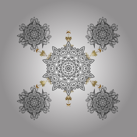 Winter pattern on white background. Vector illustration. Arab, Asian, ottoman motifs in white colors. Simple snowflakes, floral elements, decorative ornament.