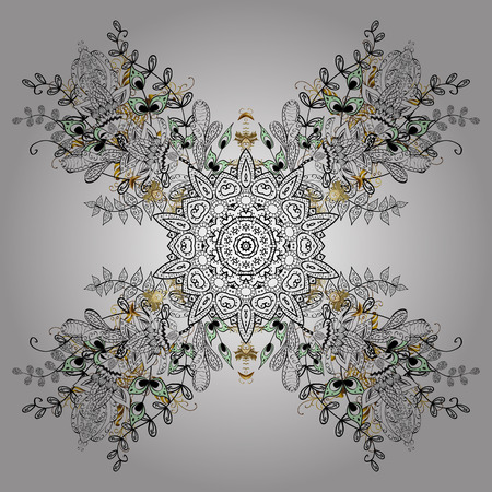 Simple snowflakes, floral elements, decorative ornament. Winter pattern on white background. Arab, Asian, ottoman motifs in white colors. Vector illustration.