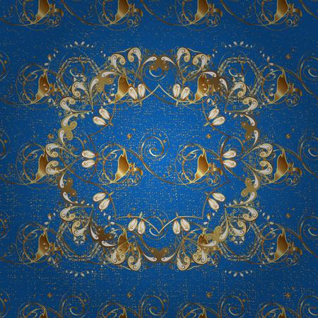 attern: Golden textured curls. ?attern on blue background with golden elements. Oriental style arabesques. Vector golden pattern. Illustration