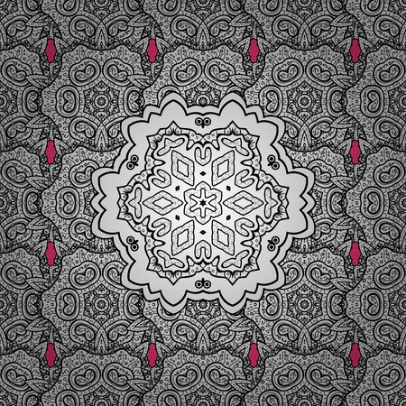 distinguished: Seamless royal luxury white baroque damask vintage. Vector pattern background sketch with white antique floral medieval decorative flowers, leaves and white pattern ornaments on pink background.