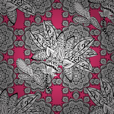 Traditional classic vector white seamless pattern. Pink background with white elements. Seamless oriental ornament in the style of baroque.