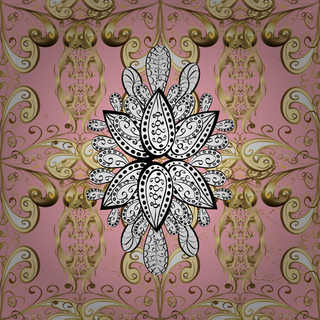 Ornate vector decoration. Luxury, royal and Victorian concept. Vintage baroque floral pattern in gold over pink. Golden element on pink background.