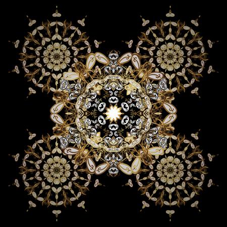 Damask background. Golden floral sketch. Golden element on black background. Gold black floral ornament in baroque style.