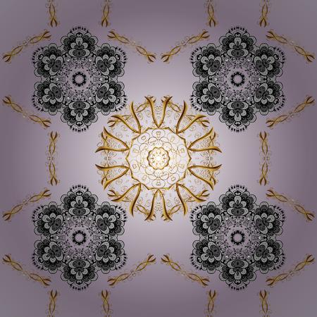 Stylish graphic pattern. Golden elements on violet background. Sketch baroque, damask. Floral pattern. Seamless vector background.