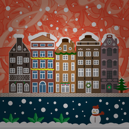Vector illustration. Background. Evening village winter landscape with snow cove houses. Christmas winter scene.