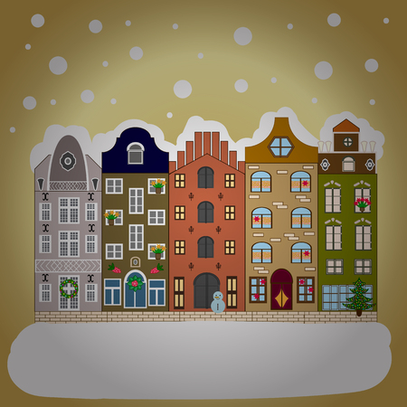 Cute town Christmas eve. Vector. Winter nature landscape. Greeting card, poster design. New year holidays. Cityscape. Winter in the city, christmas decor fir-trees. Winter houses, road, tree.