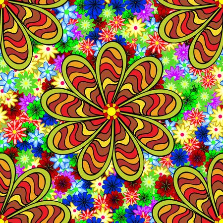 stipes: Doodles flowers. Five stipes doodles petal flower. Floral colorful seamless grunge stained pattern.