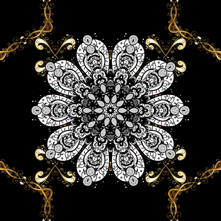 Seamless oriental ornament in the style of baroque. Traditional classic golden pattern on black background with golden elements.