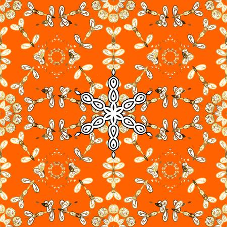 Pattern oriental ornament. Golden textile print. Islamic design. Floral tiles. Golden pattern on orange background with golden elements. Stock Photo