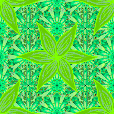 Raster illustration texture. Green. Floral seamless pattern with petals flowers. Salad color. Reklamní fotografie