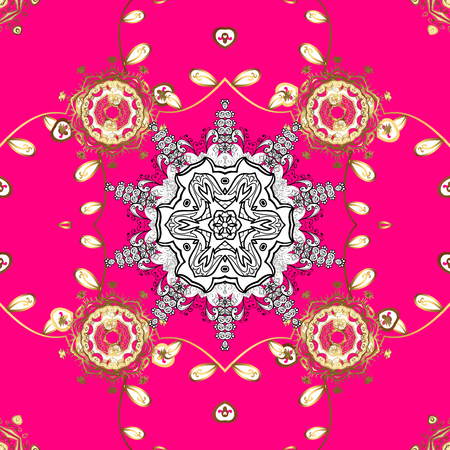 Gold on magenta background. Seamless pattern medieval floral royal pattern. Decorative symmetry arabesque. Good for greeting card for birthday, invitation or banner.