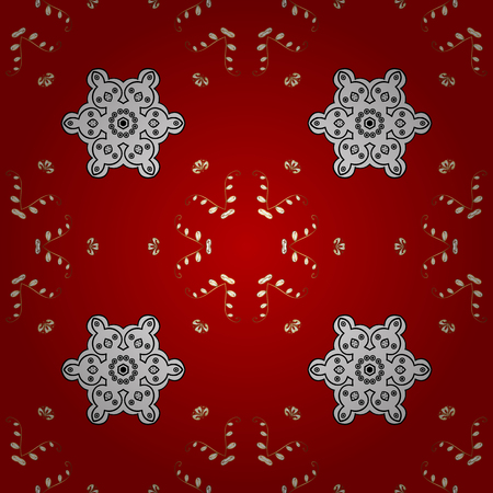 Seamless oriental ornament in the style of baroque. Traditional classic golden vector pattern on red background with golden elements.
