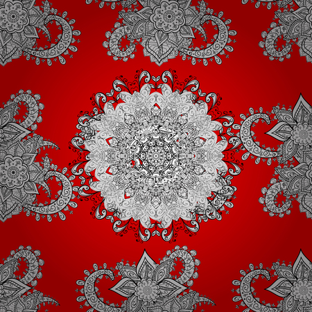 Seamless oriental ornament in the style of baroque. Vector traditional classic white seamless pattern on red background.