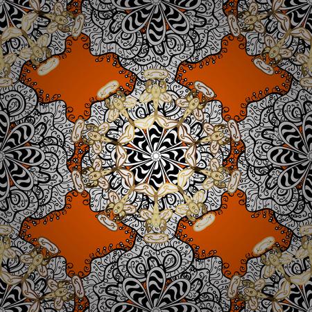 Vector golden floral ornament brocade textile pattern, white doodles. Seamless golden pattern. Orange background with golden elements. Metal with floral pattern. Illustration