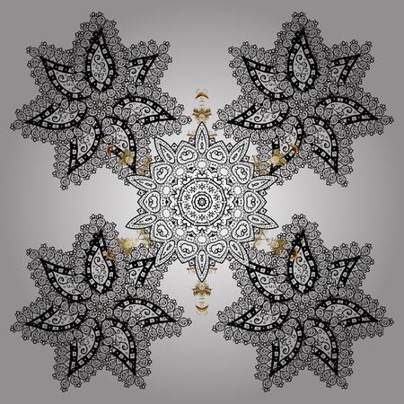 Winter Holiday Knitted Pattern with white Circles, Dots and Snowflakes On a White Background. Vector background with doodles and golden elements.