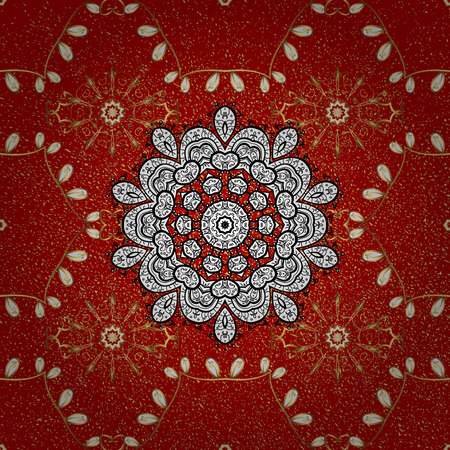 Classic vintage background. Traditional orient ornament. On red background with golden elements. Classic golden pattern.