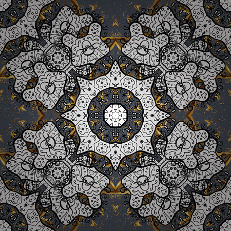 Golden element on a gray background. Gold floral ornament in baroque style. Damask background. Golden floral.