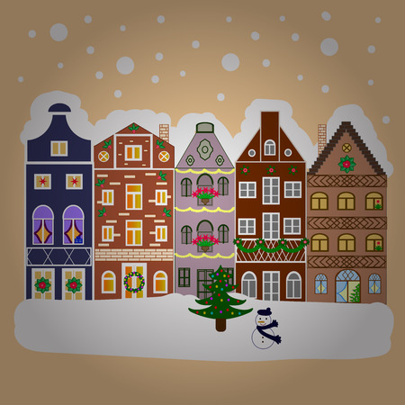 Winter houses, road, tree. Cityscape. New year holidays. Greeting card, poster design. Winter nature landscape. Winter in the city, christmas decor fir-trees. Cute town Christmas eve. Stock Photo