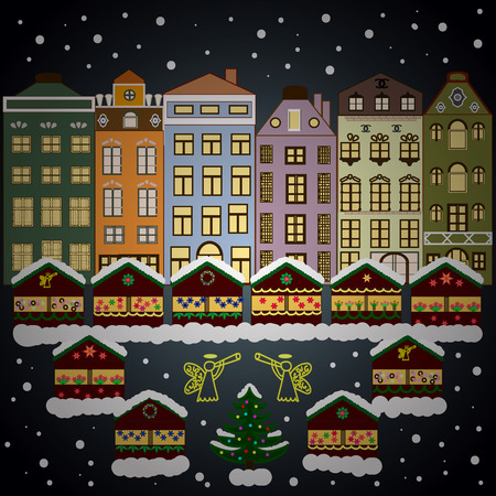 Snowfall on Christmas eve. Classic European houses landscape with Christmas holiday decorations. Buildings and facades. Winter day in cosy town street scene. Imagens
