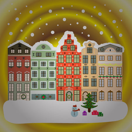 Winter in the city, christmas decor fir-trees. Greeting card, poster design. Cute town Christmas eve. Winter houses, road, tree. Cityscape. New year holidays. Winter nature landscape.