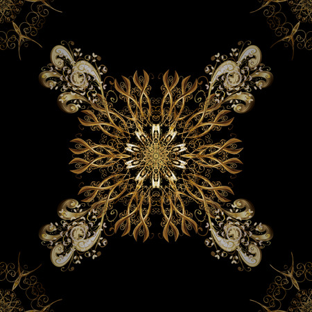 intertwined: Classic oriental pattern over black background. Damask seamless ornament. Traditional vector and golden pattern. Illustration