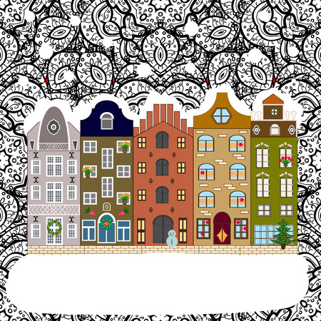 Vector illustration. Winter day in cosy town street scene. Classic European houses landscape with Christmas holiday decorations. Snowfall on Christmas eve. Buildings and facades. Illustration