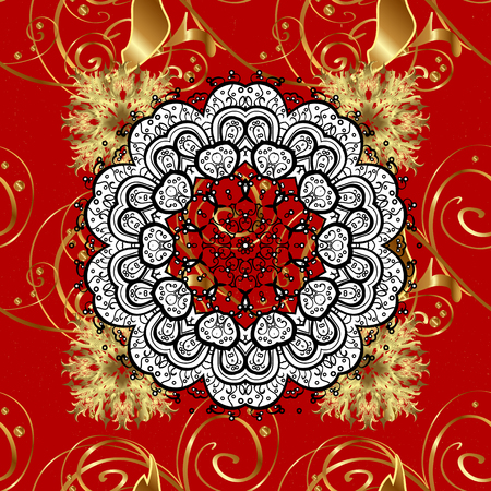 Vector sketch for invitations, cards, certificate, web page. Golden outline floral decor. Eastern style element. Vector line art seamless border for design template. Golden element on red background.