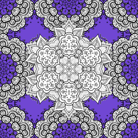 Seamless white pattern. Vector oriental ornament. Whiteen pattern on violet background with white elements.