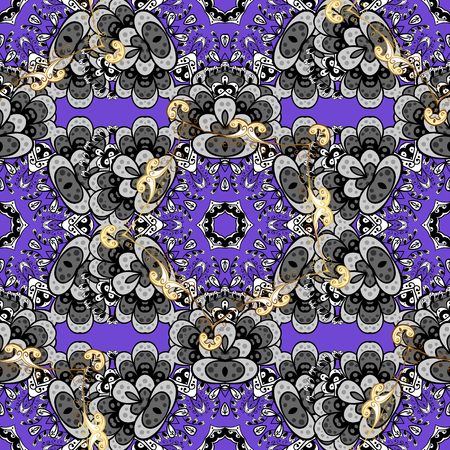Vector illustration. Damask seamless pattern for design. Vector seamless pattern on violet background with golden elements and with white doodles.