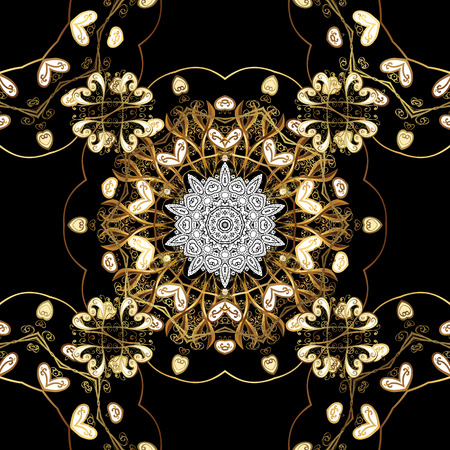 tillable: Seamless classic vector golden pattern. Floral ornament brocade textile pattern, glass, metal with floral pattern on black background with golden elements.