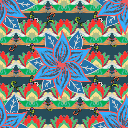 Pink flowers of a lotus on a dark blue background. Seamless pattern. Stock Photo