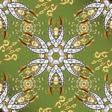 Christmas, snowflake, new year. Golden pattern on green background with golden elements. Vintage pattern on green background with golden elements. Stock Photo