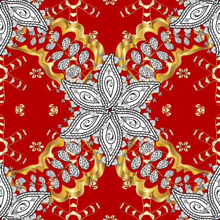 Floral tiles. Islamic design. Seamless pattern oriental ornament. Golden pattern on red background with golden elements. Golden textile print. Stock Photo