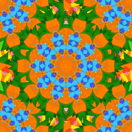 Hand drawn zentangle floral background. Seamless pattern ethnic mandalas, doodle background circles. Pattern.