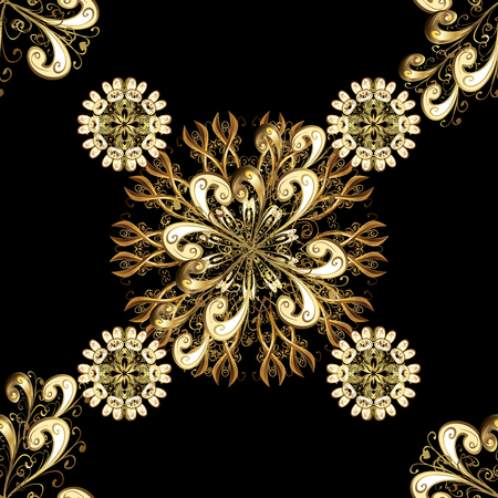 Patina. Carving. Small depth of field. Seamless element woodcarving. Luxury furniture. Pattern on black background with golden elements. Black backdrop with gold trim. Furniture in classic style.