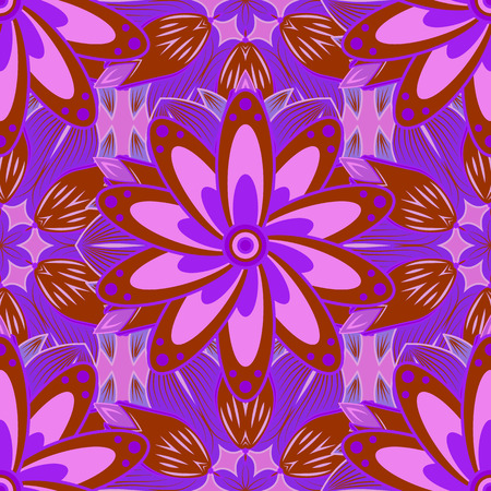 Raster illustration of floral seamless. Red and lilac petal flowers a dark blue background, drawing watercolor.