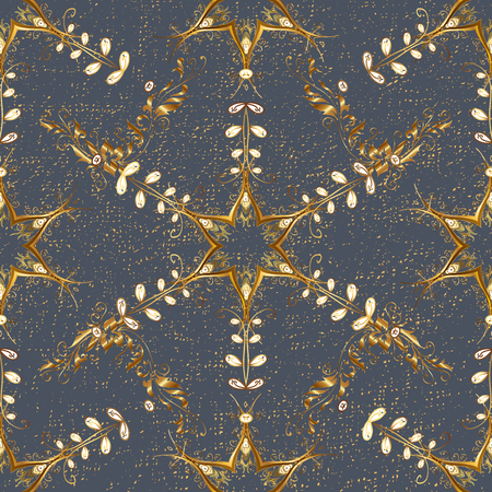 Oriental style arabesques. Golden textured curls. ?attern on gray background with golden elements. Golden pattern.