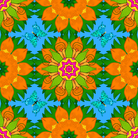 Seamless pattern with beautiful Mandalas. Raster illustration.