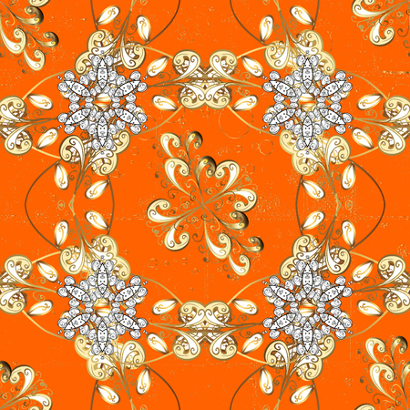 coarse: Traditional classic golden pattern on orange background with golden elements. Oriental ornament in the style of baroque.