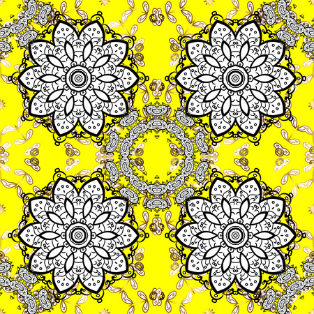 Golden yellow floral ornament in baroque style. Antique golden repeatable sketch.Golden element on yellow background. Damask seamless pattern repeating background. Stock Photo