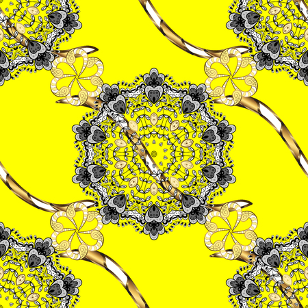 Traditional classic golden pattern. Golden pattern on yellow background with golden elements. Oriental ornament. Seamless oriental ornament in the style of baroque.