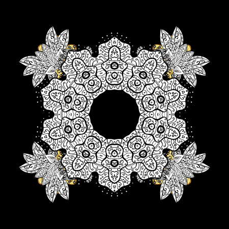 Golden ornate illustration for sketch. With floral ornament. Ornamental lace tracery. Traditional arabic decor on black background. Vintage design element in Eastern style.