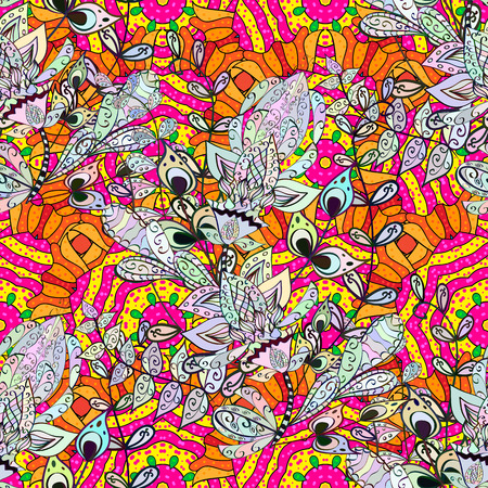 Colorful adorable seamless floral pattern over beige background.