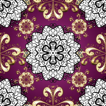 Floral ornament brocade textile pattern, glass, metal with floral pattern on purple background with golden elements. Seamless classic golden pattern.
