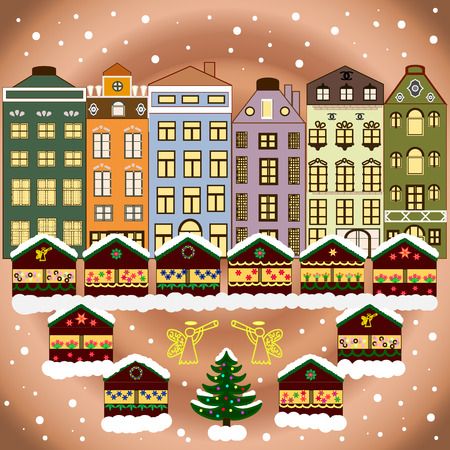 cosy: Classic European houses landscape with Christmas holiday decorations. Buildings and facades. Snowfall on Christmas eve. Winter day in cosy town street scene.