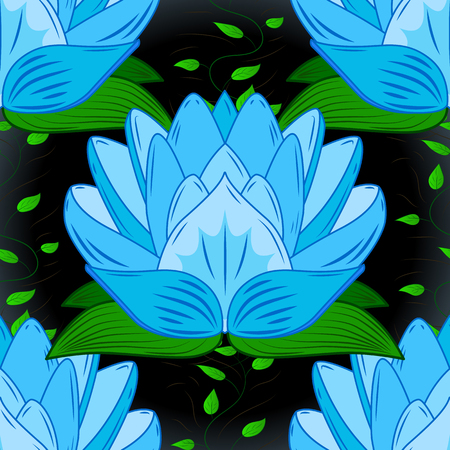 Seamless pattern with blue lotus, petals and with dark background. Green leaves.