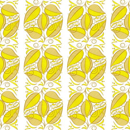 Raster illustration texture. Yellow, green. Seamless autumn leaves pattern. White background.