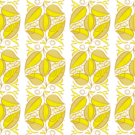Raster illustration texture. Yellow, green. Seamless autumn leaves pattern. White background.