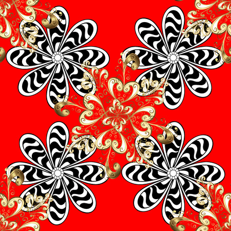 Seamless pattern on red background with golden elements and white doodles. Traditional orient ornament. Seamless classic vector golden pattern. Classic vintage background.